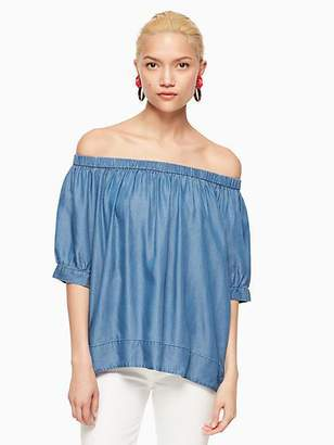 Kate Spade Chambray off the shoulder top