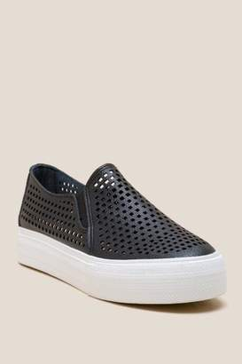 Restricted Vaness Perforated Slip On Sneaker - Black
