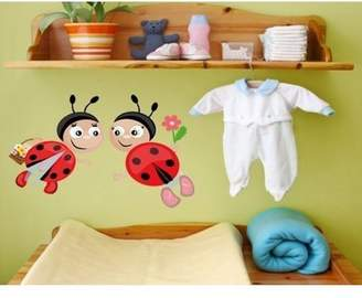 Mural Style and Apply Ladybugs II Wall Decal - wall print decal, sticker, vinyl art home decor - DS 847 - 16in x 9in
