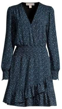 MICHAEL Michael Kors Smocked Print Ruffle Dress