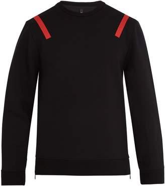 Neil Barrett Tape-print zip-side jersey sweatshirt