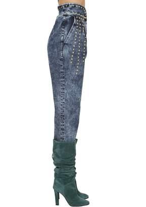 Alberta Ferretti High Waisted Studded Denim Jeans