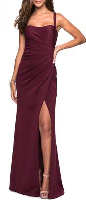 La Femme Ruched Soft Jersey Evening Dress