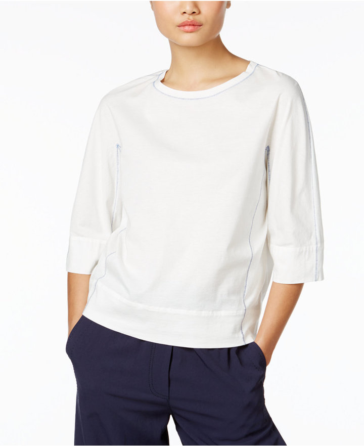 DKNY DKNY Cotton Elbow-Sleeve T-Shirt