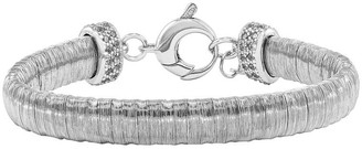 "Sterling Silver Wire-Wrapped Crystal-Accented 6-3/4"" Bracelet"