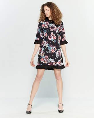 Yumi Black Floral Shift Dress