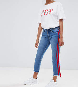 Only Petite straight leg crop jean with sports stripe in blue