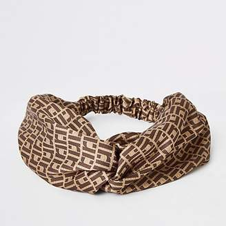 River Island Brown RI monogram print twist headband