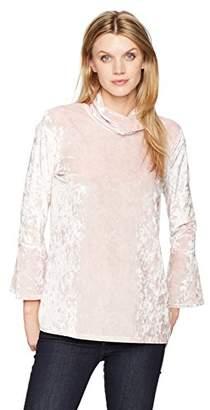 Ruby Rd. Women's Plus Size Mock-Neck Crushed Knit Velvet Tunic Top