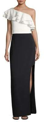 Laundry by Shelli Segal One-Shoulder Ruffle Gown