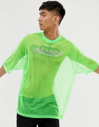 Asos Design DESIGN oversized t-shirt is neon mesh with hot fix gem print