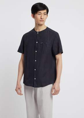 Emporio Armani Pure Linen Shirt With Zippered Pocket