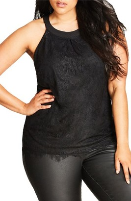 Plus Size Women's City Chic Lovely Lace Halter Style Top $69 thestylecure.com