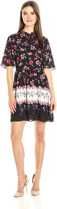 Cynthia Steffe Cece By CeCe by Women's Elise-s/s Tie Neck Floral Border