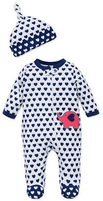 Offspring Baby's Heart Print Footie and Hat Set $22 thestylecure.com