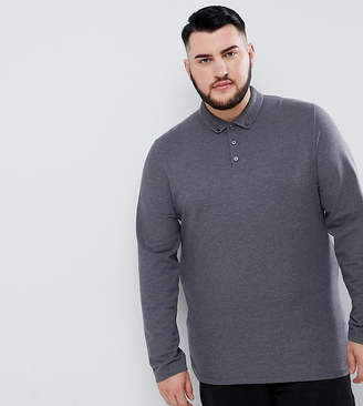 Asos Design DESIGN Plus long sleeve pique polo with button down collar in charcoal marl