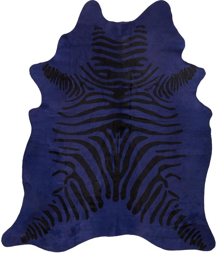 "Horchow ""Blue Zebra"" Hairhide Rug, 6' x 7'"