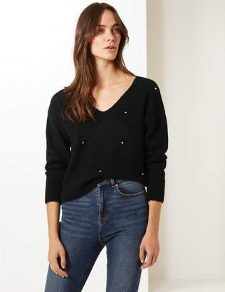 Marks and Spencer Embellished V-Neck Jumper