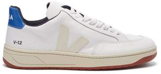 Veja V 12 Low Top Leather And Mesh Trainers - Womens - Blue White