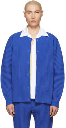 Issey Miyake Homme Plisse Blue Cotton Surface Pleated Cardigan