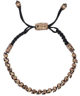 John Varvatos Collection Brass Skulls & Daggers Bead & Leather Cord Bracelet