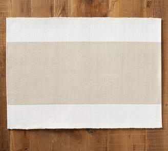 Pottery Barn Raney Colorblock Placemat, Set of 4 - Flax
