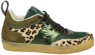 Leather Crown Sneakers Suede And Pony Green Color