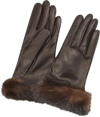 Forzieri Women's Dark Brown Italian Nappa Leather Gloves w/Mink Fur