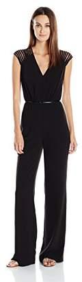 Halston Women's Multi Strap Emellished Sleeve V-Neck Jumpsuit