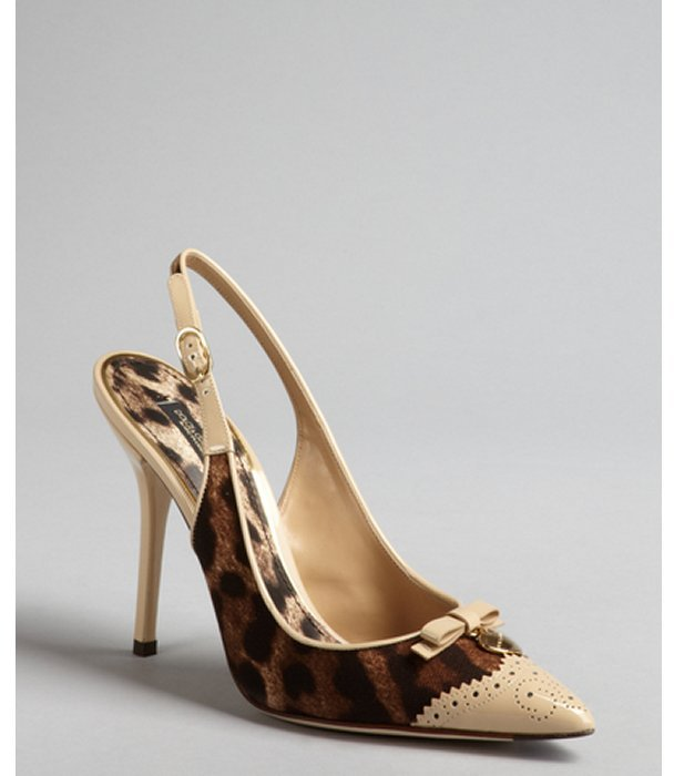Dolce & Gabbana leopard print canvas and patent leather wingtip slingback pumps