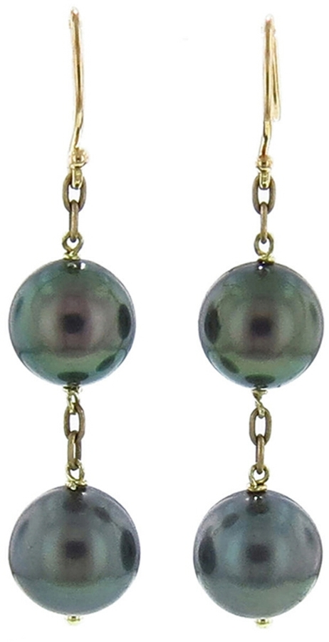 ten thousand things double pearl drop earrings in yellow