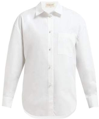 Alexandre Vauthier Crystal Embellished Cotton Poplin Shirt - Womens - White