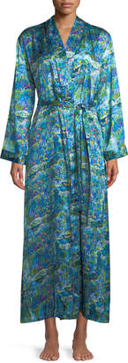 Derek Rose Brindisi Long Floral-Print Silk Robe
