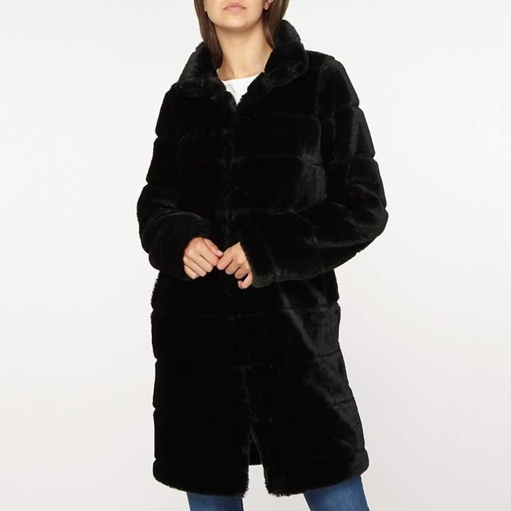 Tall Black Lined Faux Fur Coat