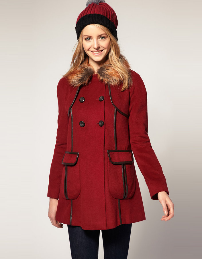 Asos Coat With Faux Fur Collar And Faux Leather Trim