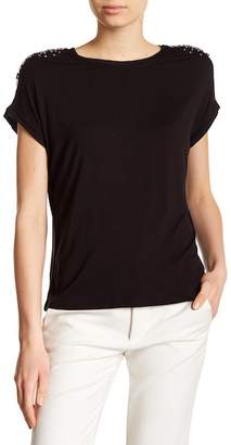 Catherine Malandrino Short Sleeve Embellished Shoulder Tee