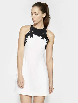 Halston SLEEVELESS HIGH NECK WITH EMBROIDERED TOP DRESS