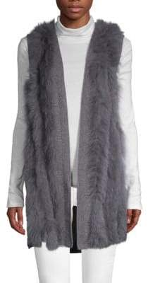 Qi Striped Cashmere & Fox Fur Open Front Vest