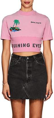"Palm Angels Women's ""Ruining Everything Club"" Cotton Crop T-Shirt"