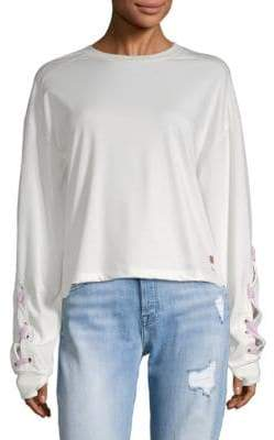 Peace Love World GRL PWR Lace-Up Sweatshirt