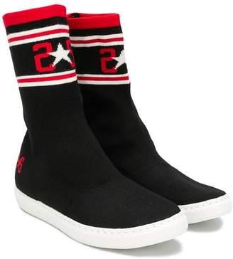 Star Kids 2 logo knit sneaker boots