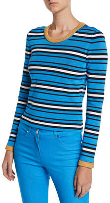 Escada Crewneck Long-Sleeve Striped-Knit Sweater