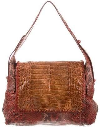 Carlos Falchi Python and Crocodile-Trimmed Shoulder Bag