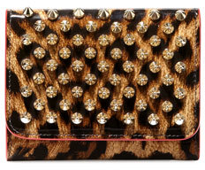 Christian Louboutin Christian Louboutin Macaron Mini Patent Spikes Wallet, Leopard