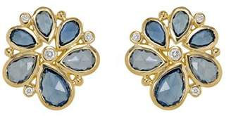 Temple St. Clair 18K Gold Spiral Cluster Earrings with Rose Cut Blue Sapphire and Diamond