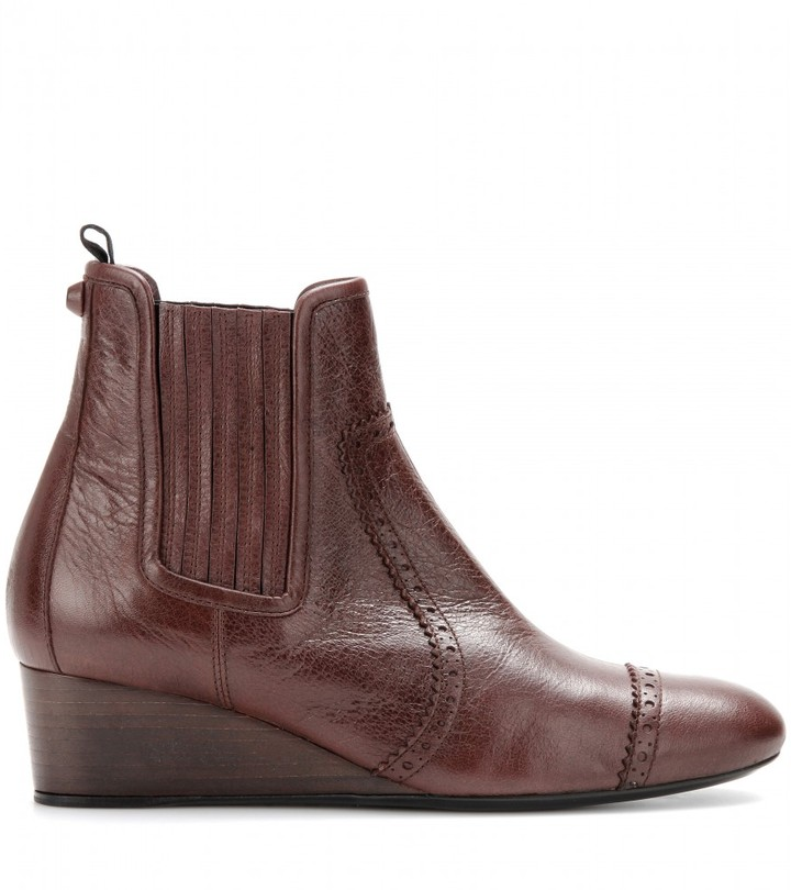 Balenciaga Leather wedge brogue ankle boots