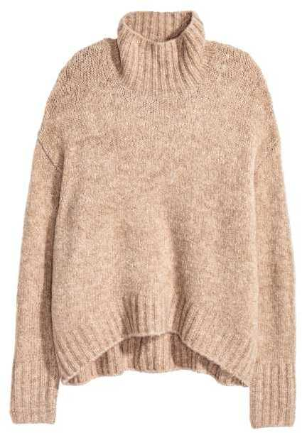 H&M - Knit Turtleneck Sweater - Beige melange - Ladies