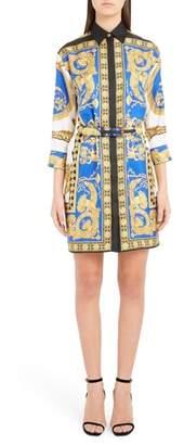 Versace Baroque Leopard Print Belted Silk Shirtdress