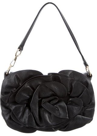 Saint Laurent Yves Saint Laurent Leather Rosette Flap Bag