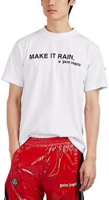 "Palm Angels 8 MONCLER Men's ""Make It Rain"" Cotton T-Shirt - White"